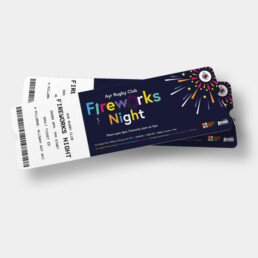 Blue rectangular ticket for Ayr Rugby Club Fireworks night