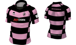 Ayr rugby shirt with pink and black hoops and a black collar
