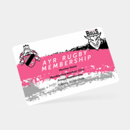 membership card for ayr rugby club in white pink and grey with ayr rugby and ayrshire bulls logo
