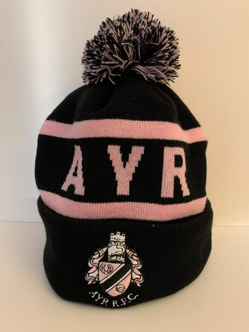 ayr rugby club bobble hat in pink and black